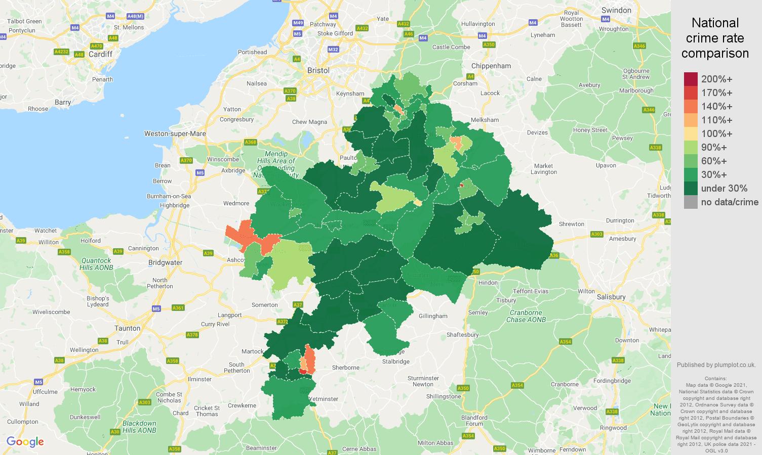 Bath antisocial behaviour crime rate comparison map