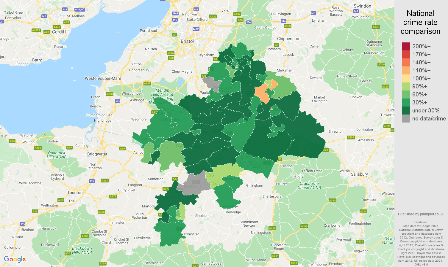 Bath drugs crime rate comparison map