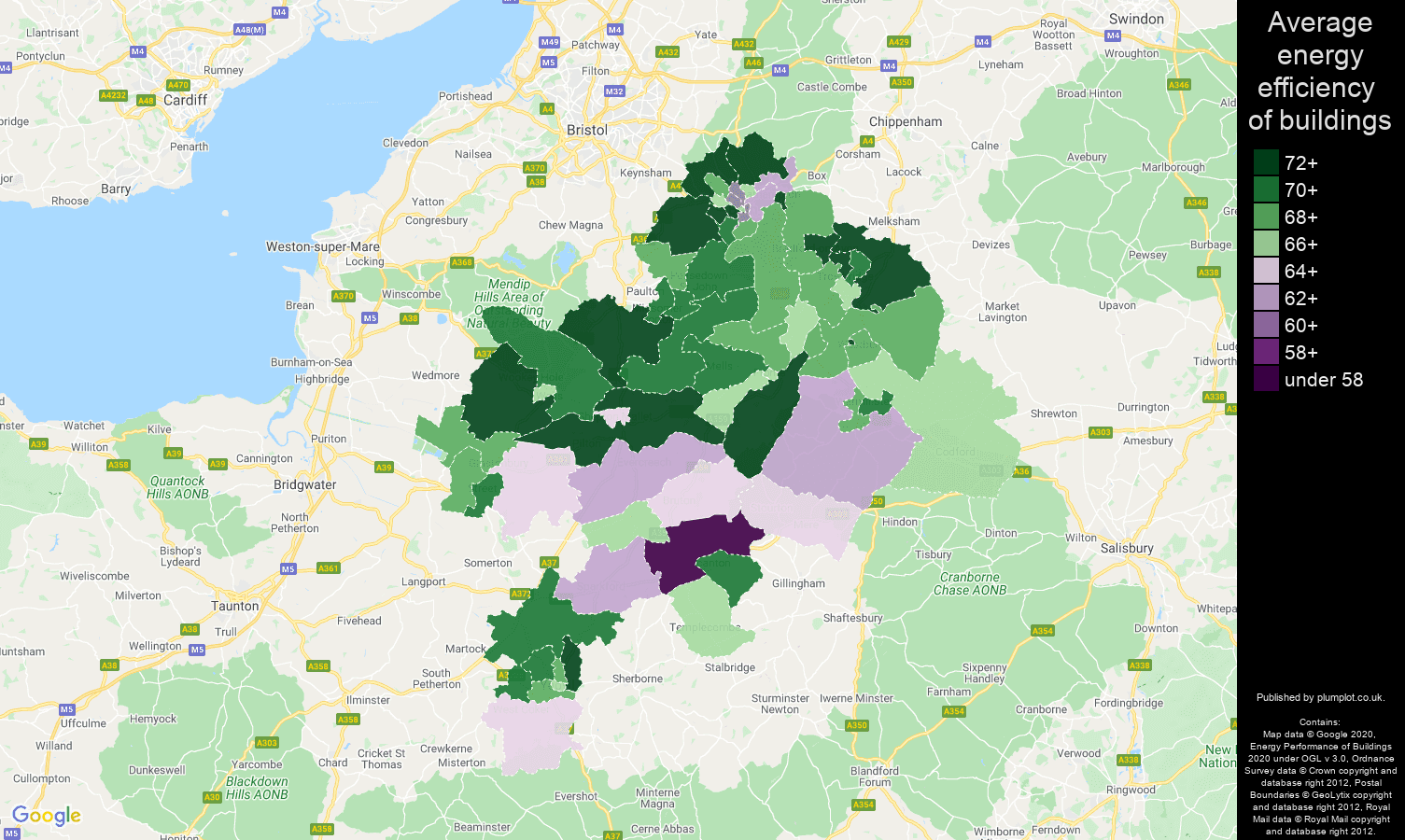 Bath map of energy efficiency of flats