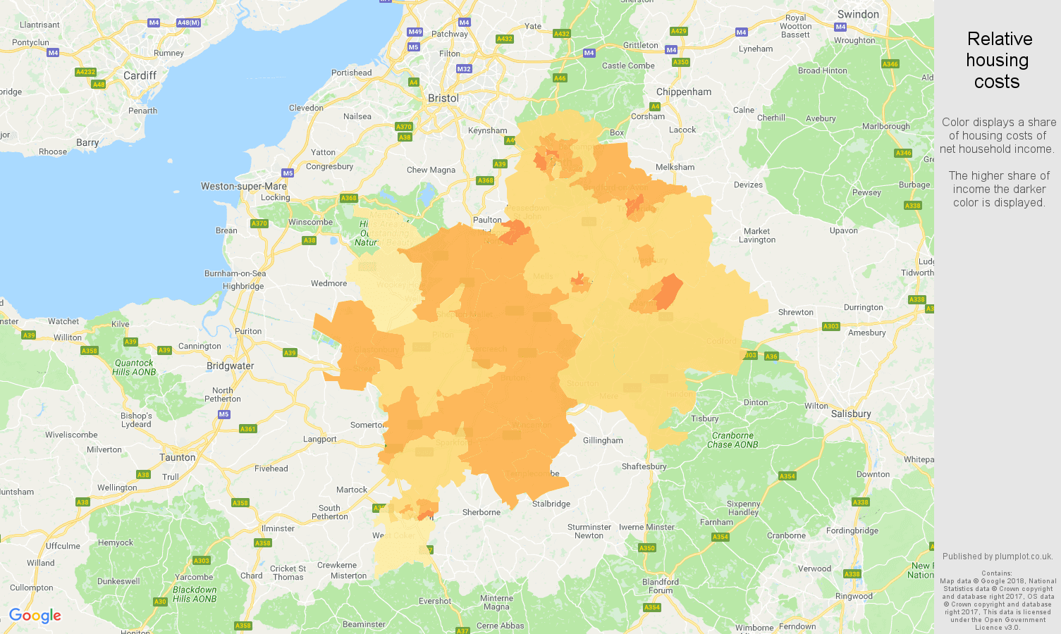 Bath relative housing costs map