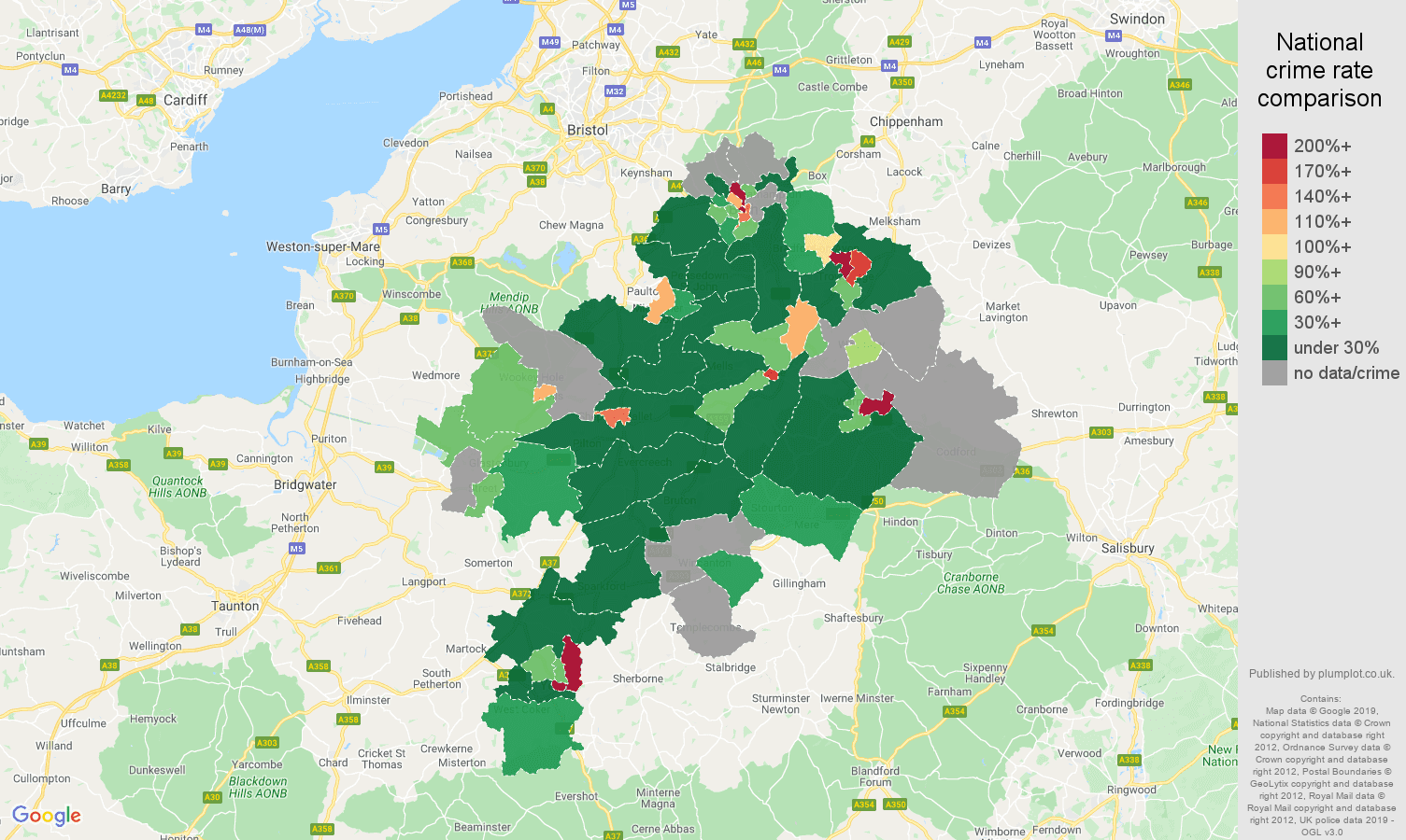 Bath shoplifting crime rate comparison map