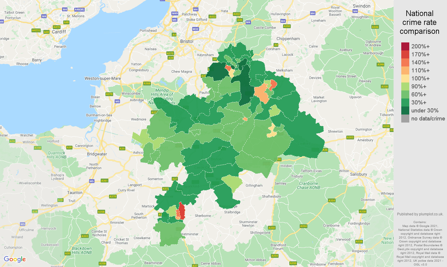 Bath violent crime rate comparison map