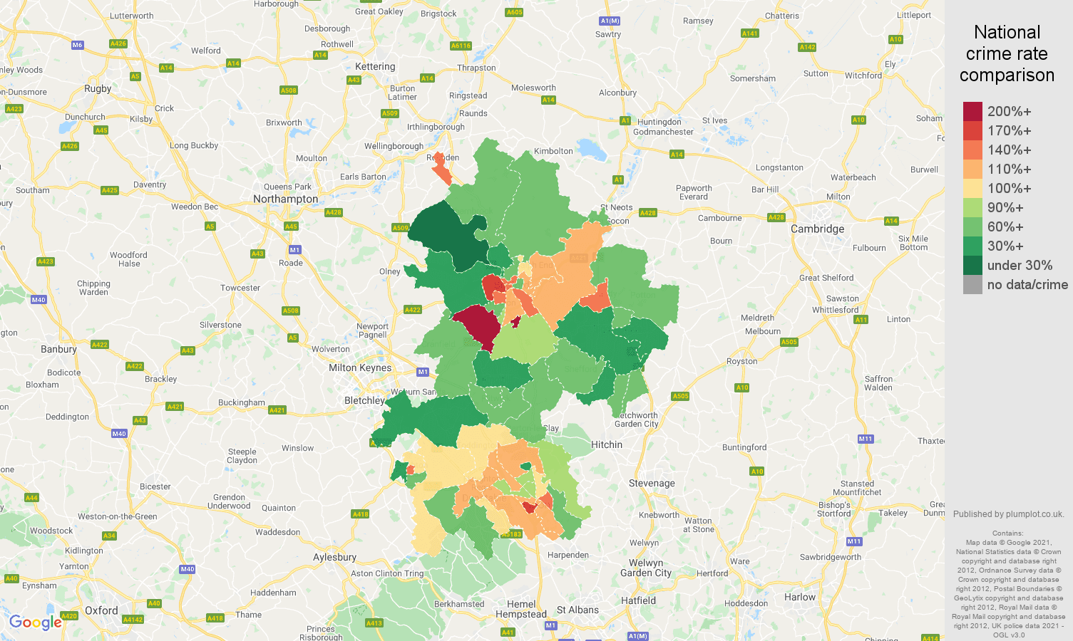 Bedfordshire criminal damage and arson crime rate comparison map