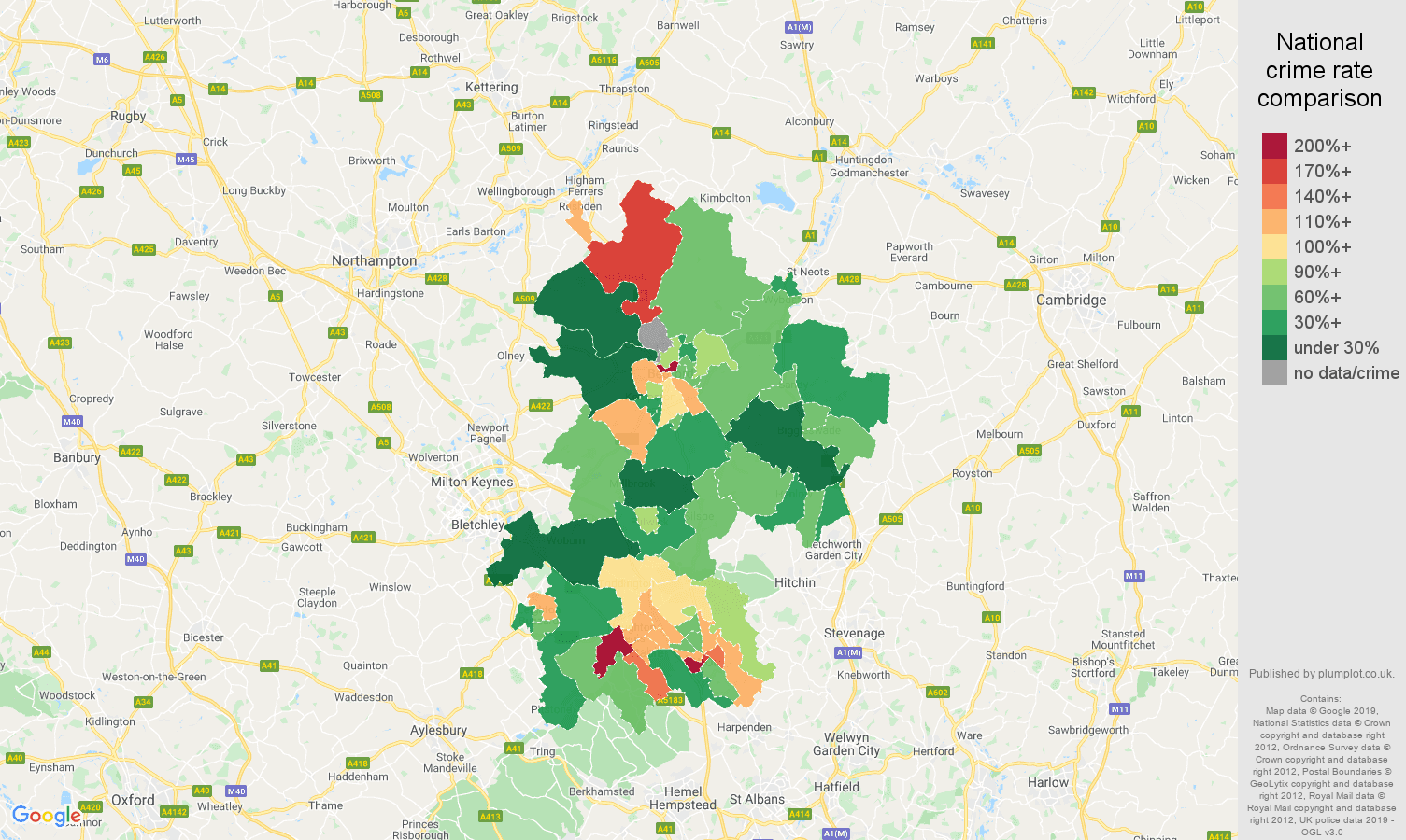 Bedfordshire other crime rate comparison map