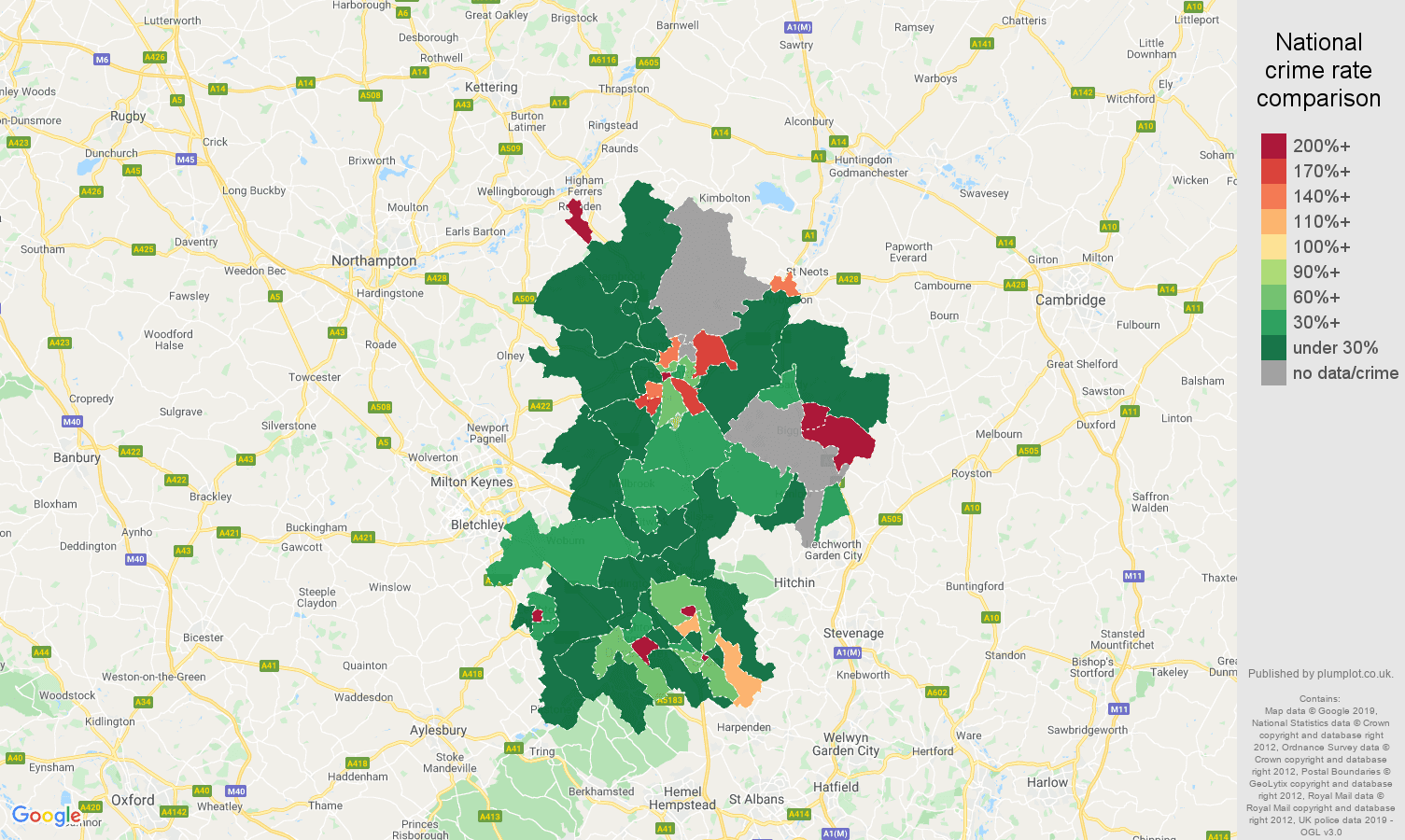 Bedfordshire shoplifting crime rate comparison map