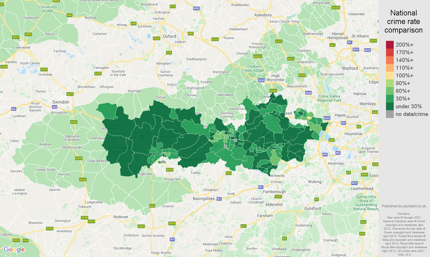 Berkshire antisocial behaviour crime rate comparison map