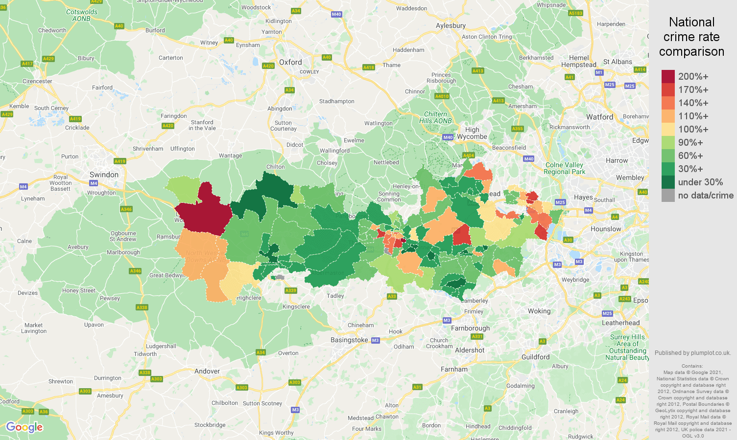 Berkshire burglary crime rate comparison map