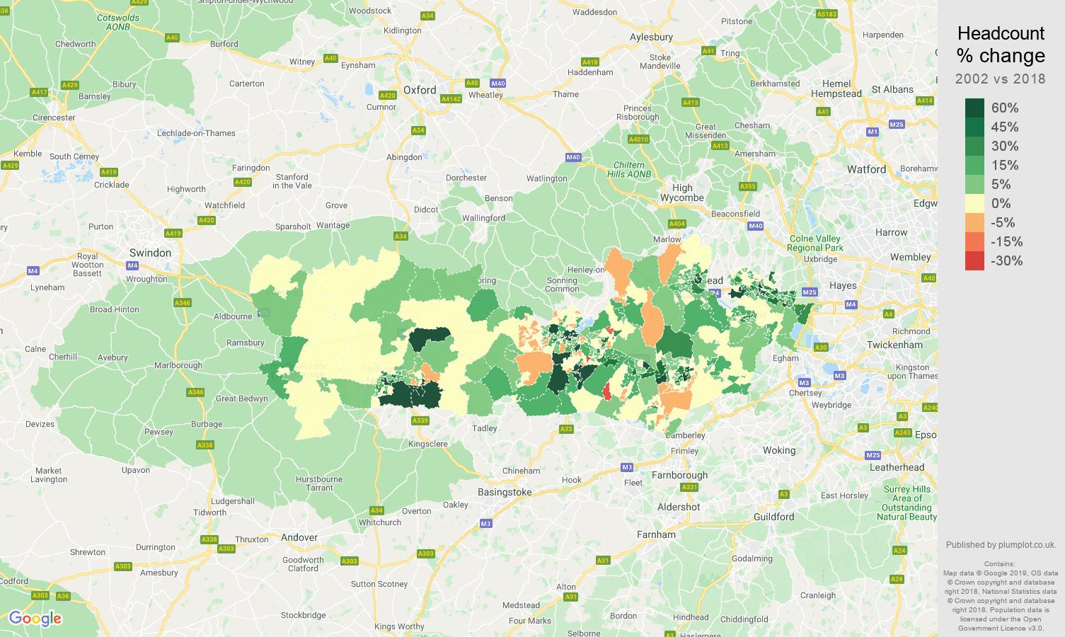 Berkshire headcount change map