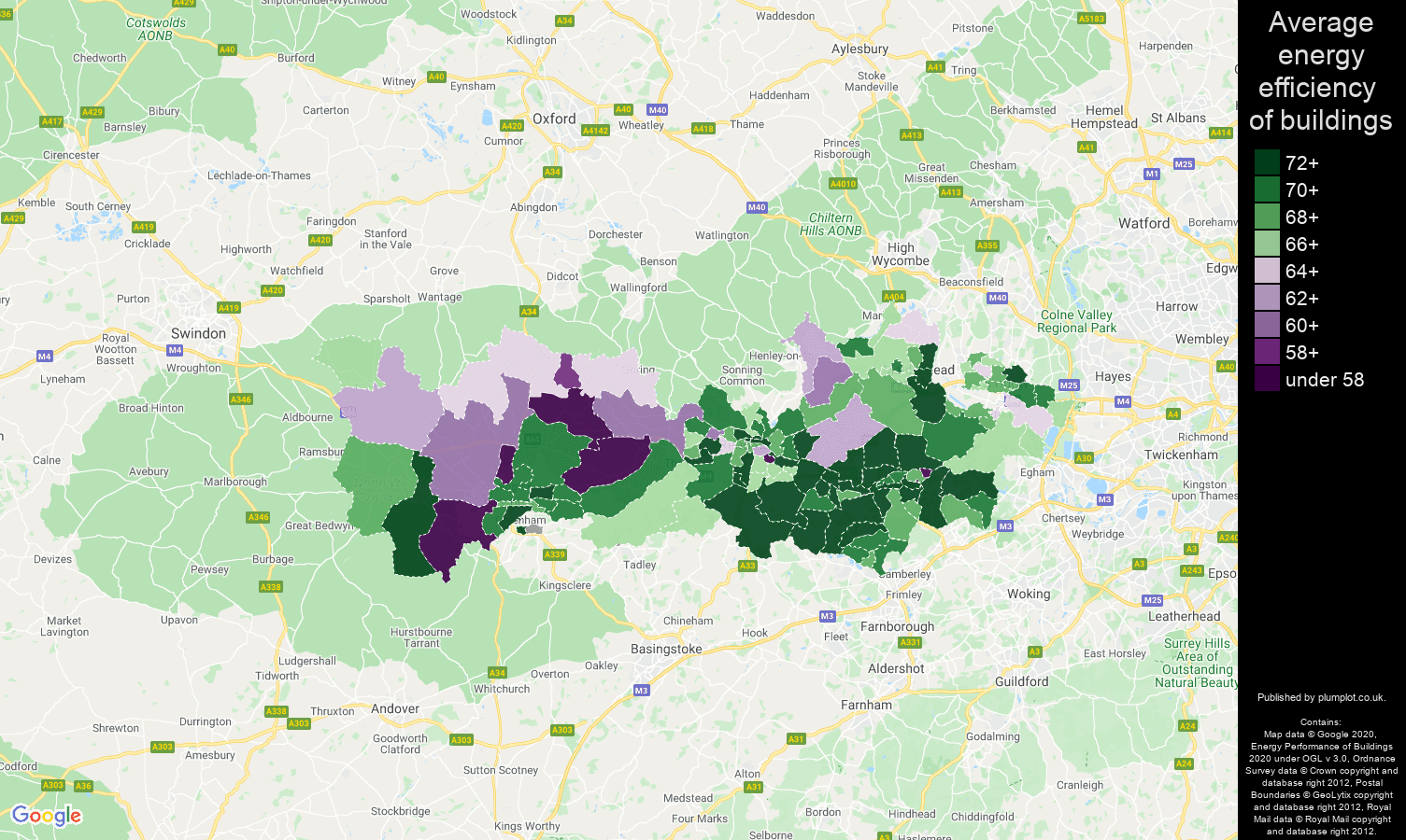 Berkshire map of energy efficiency of flats