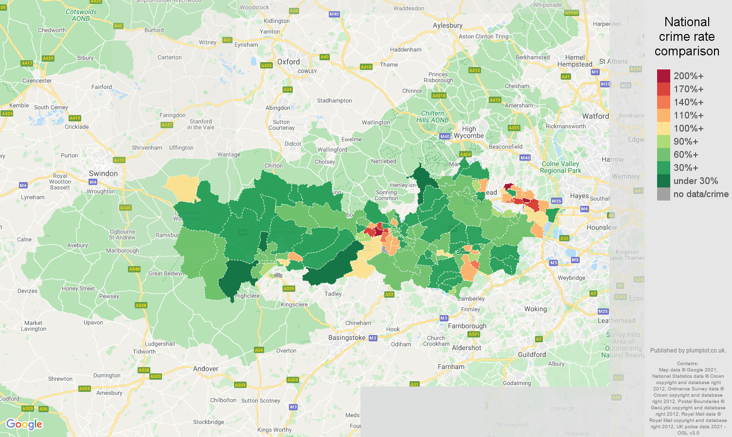 Berkshire violent crime rate comparison map