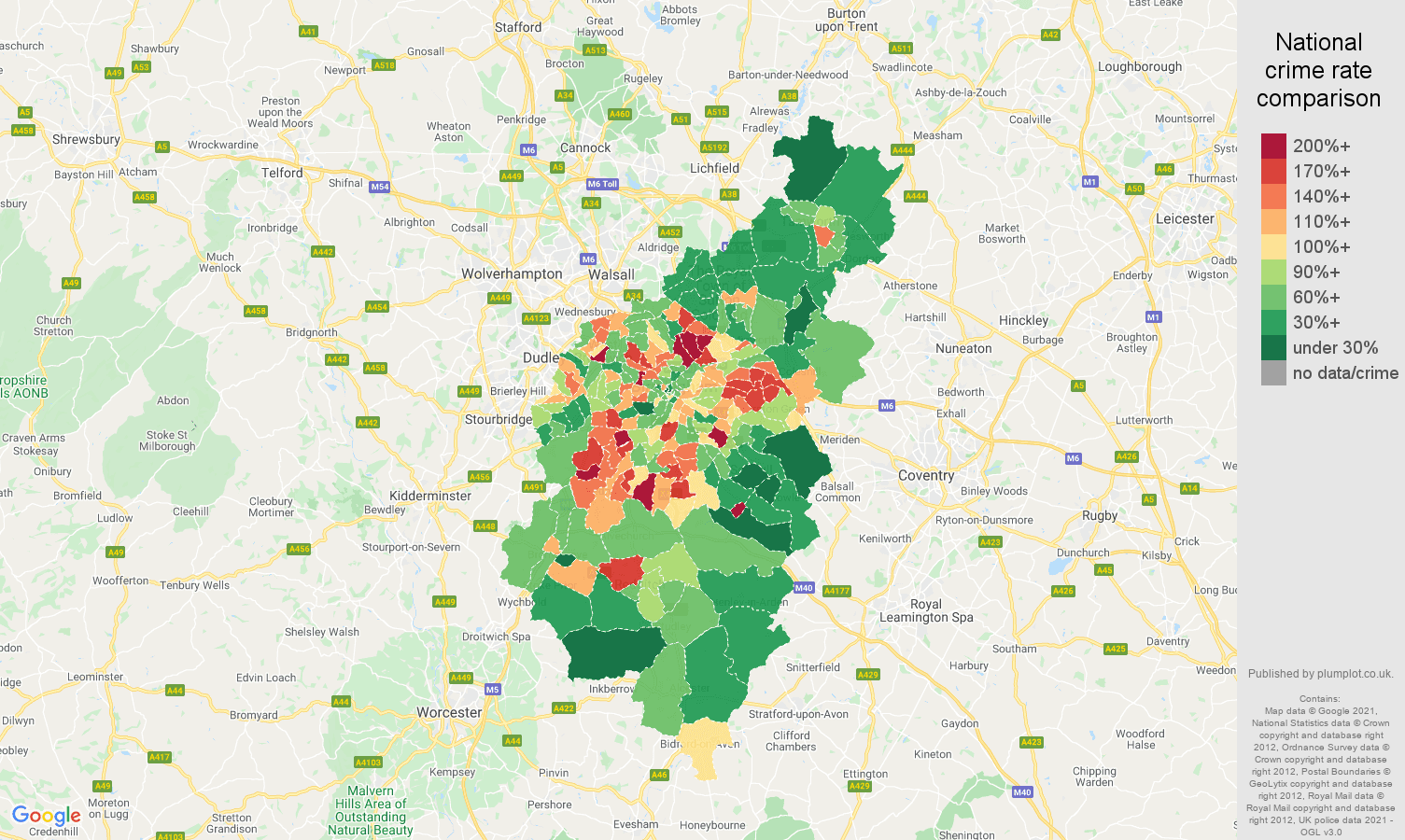 Birmingham criminal damage and arson crime rate comparison map