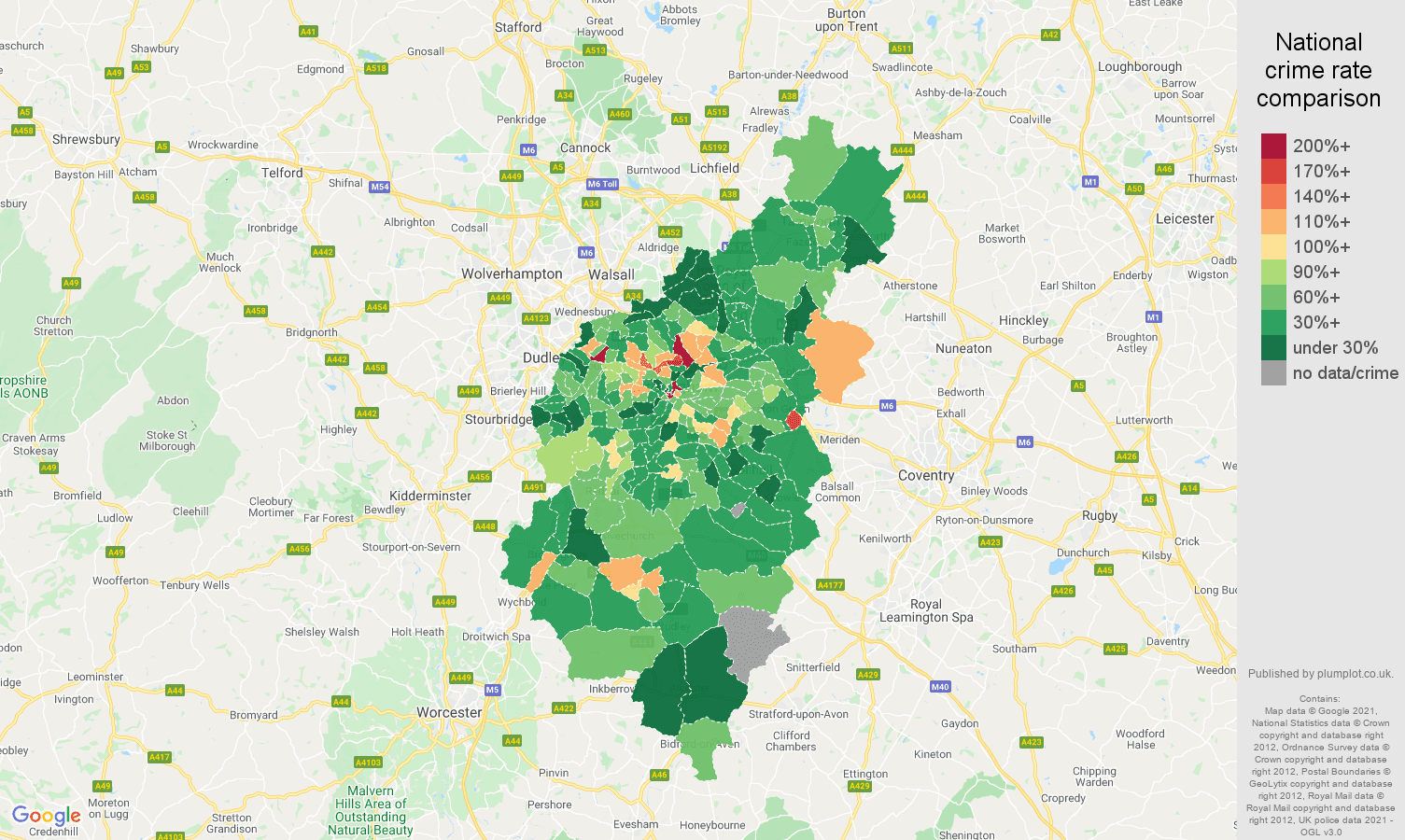 Birmingham drugs crime rate comparison map