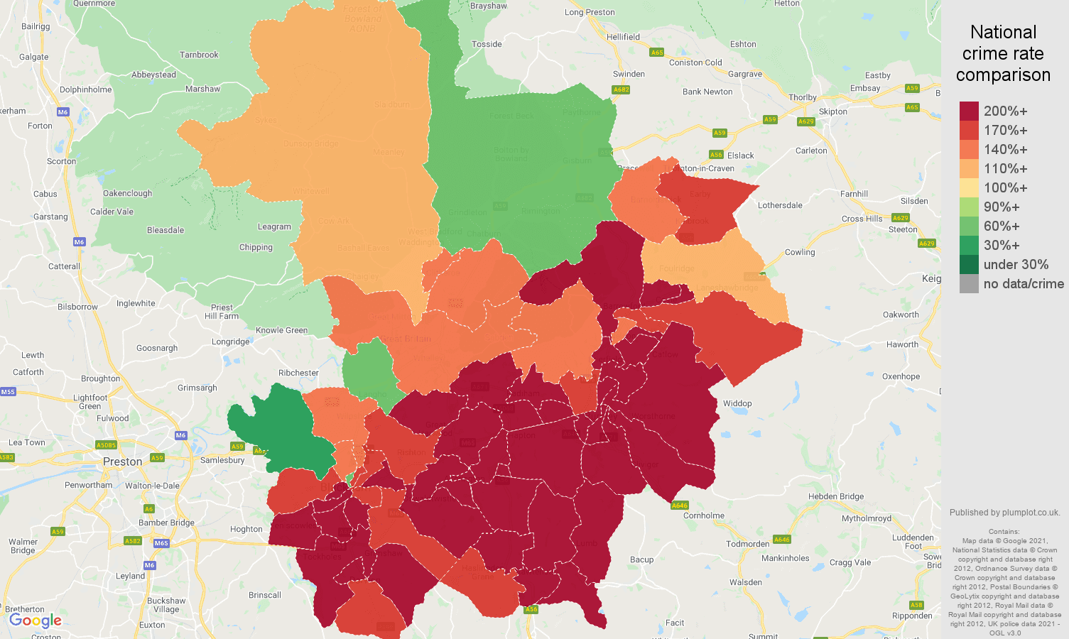 Blackburn antisocial behaviour crime rate comparison map