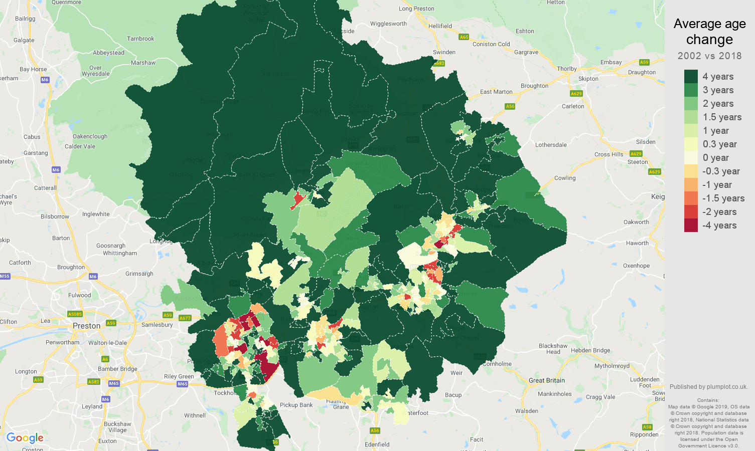 Blackburn average age change map