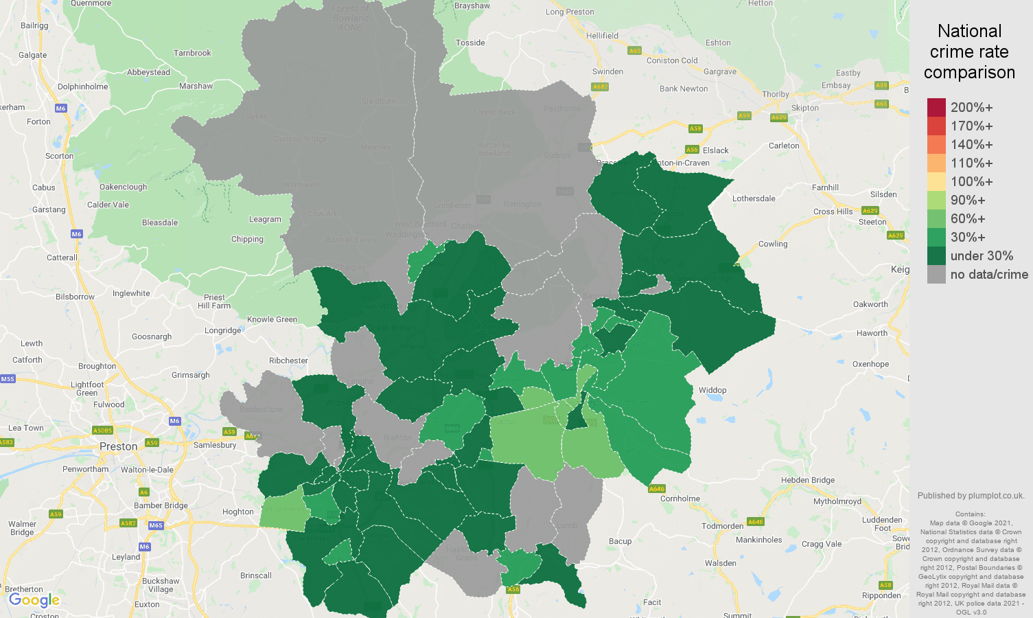 Blackburn bicycle theft crime rate comparison map