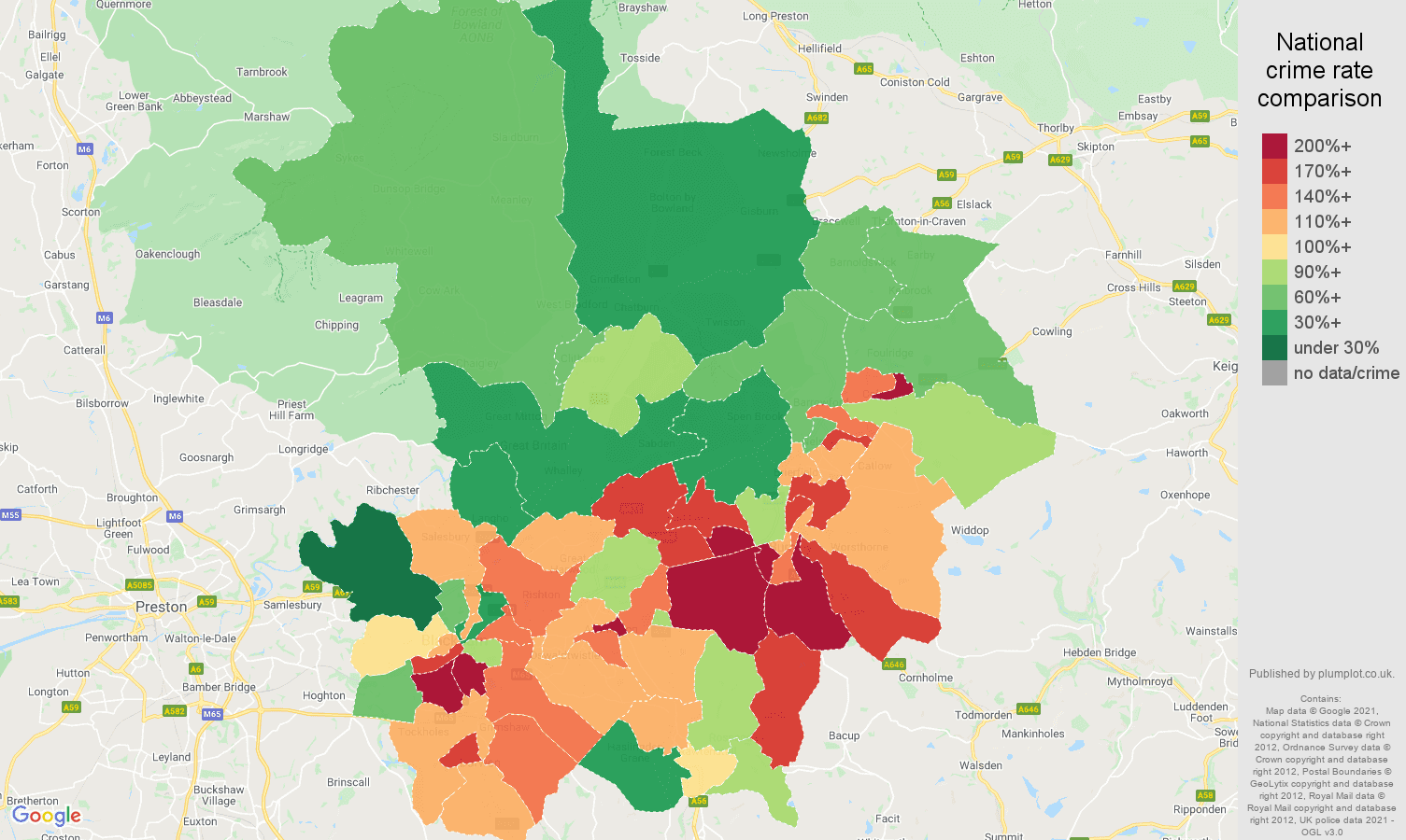 Blackburn criminal damage and arson crime rate comparison map
