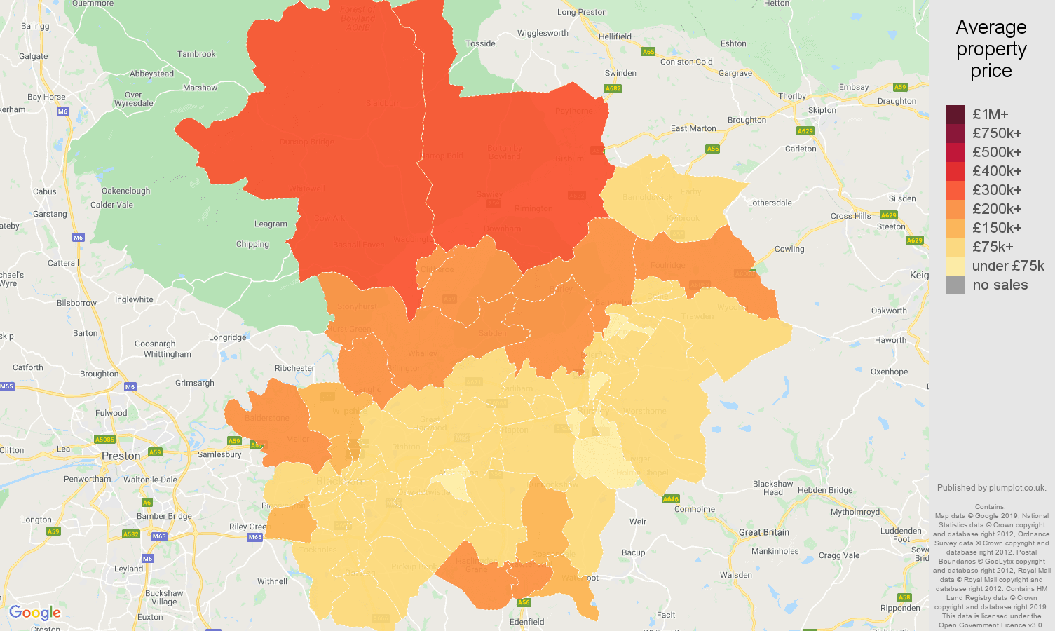 Blackburn house prices map