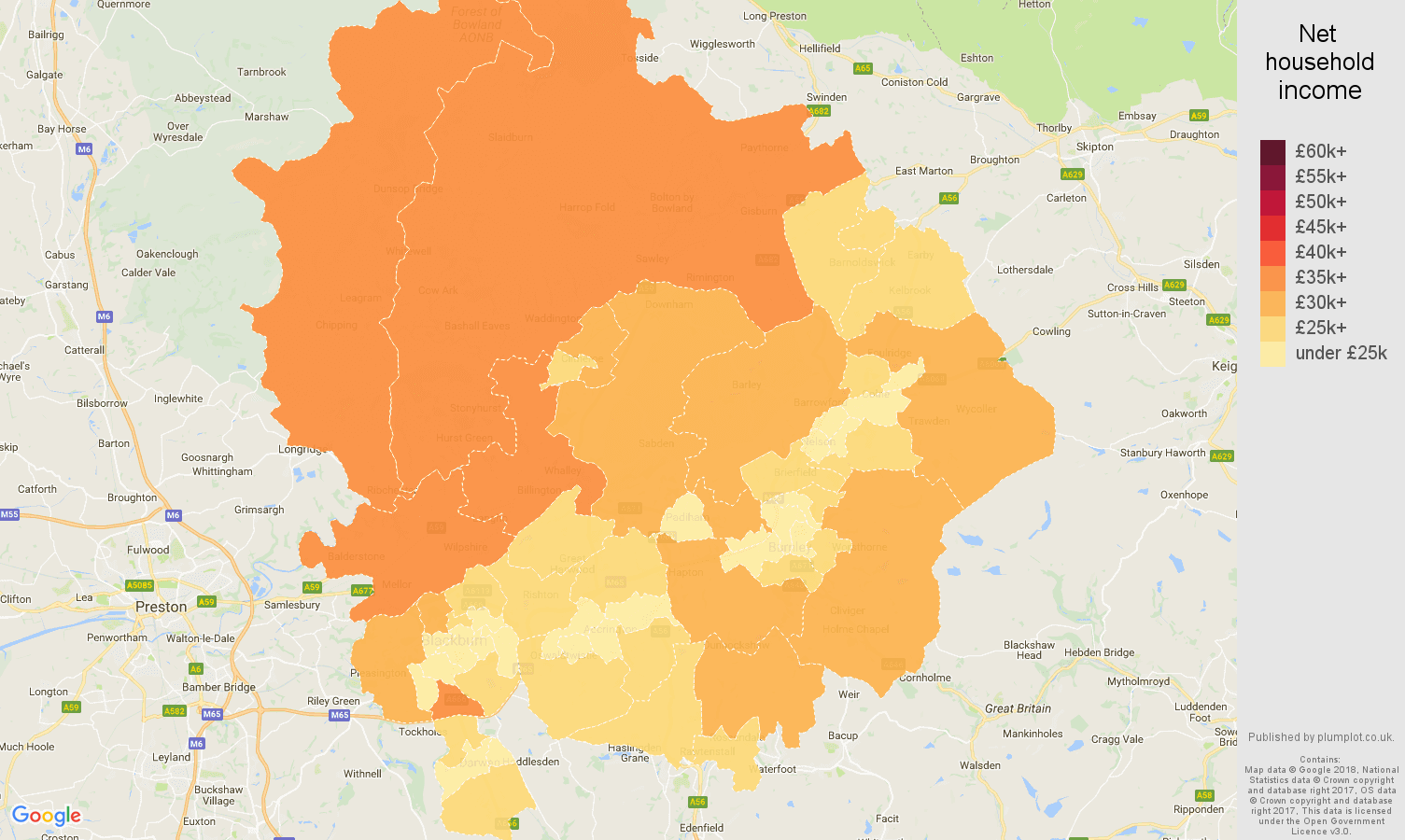 Blackburn net household income map