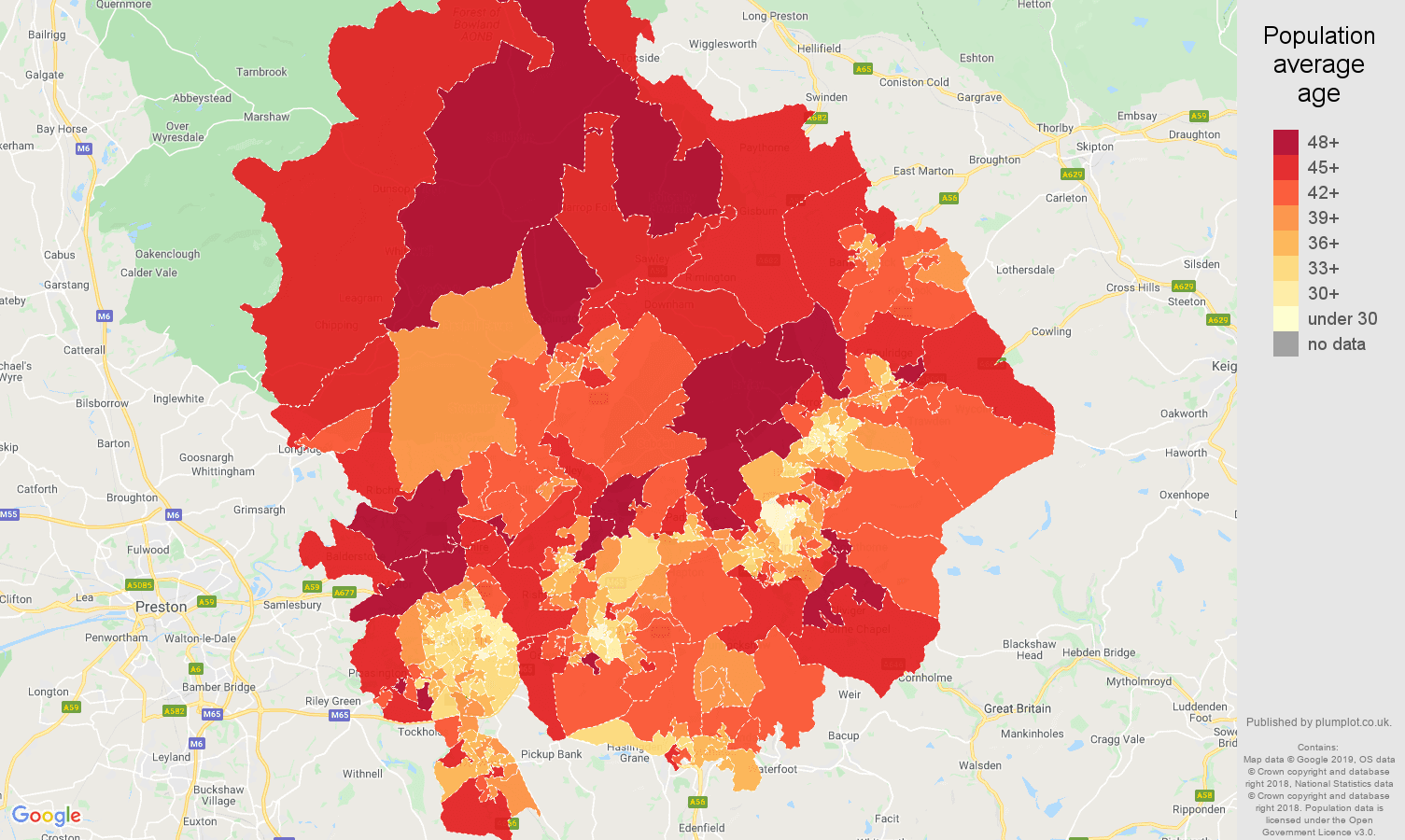 Blackburn population average age map