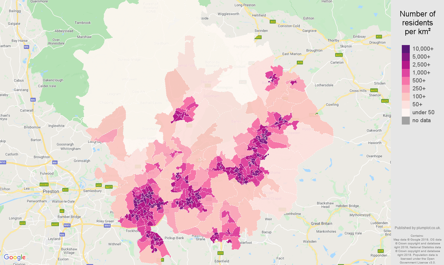 Blackburn population density map