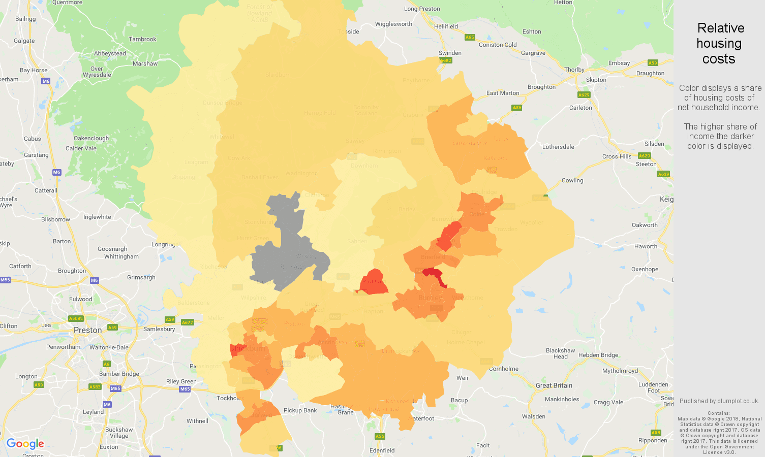 Blackburn relative housing costs map