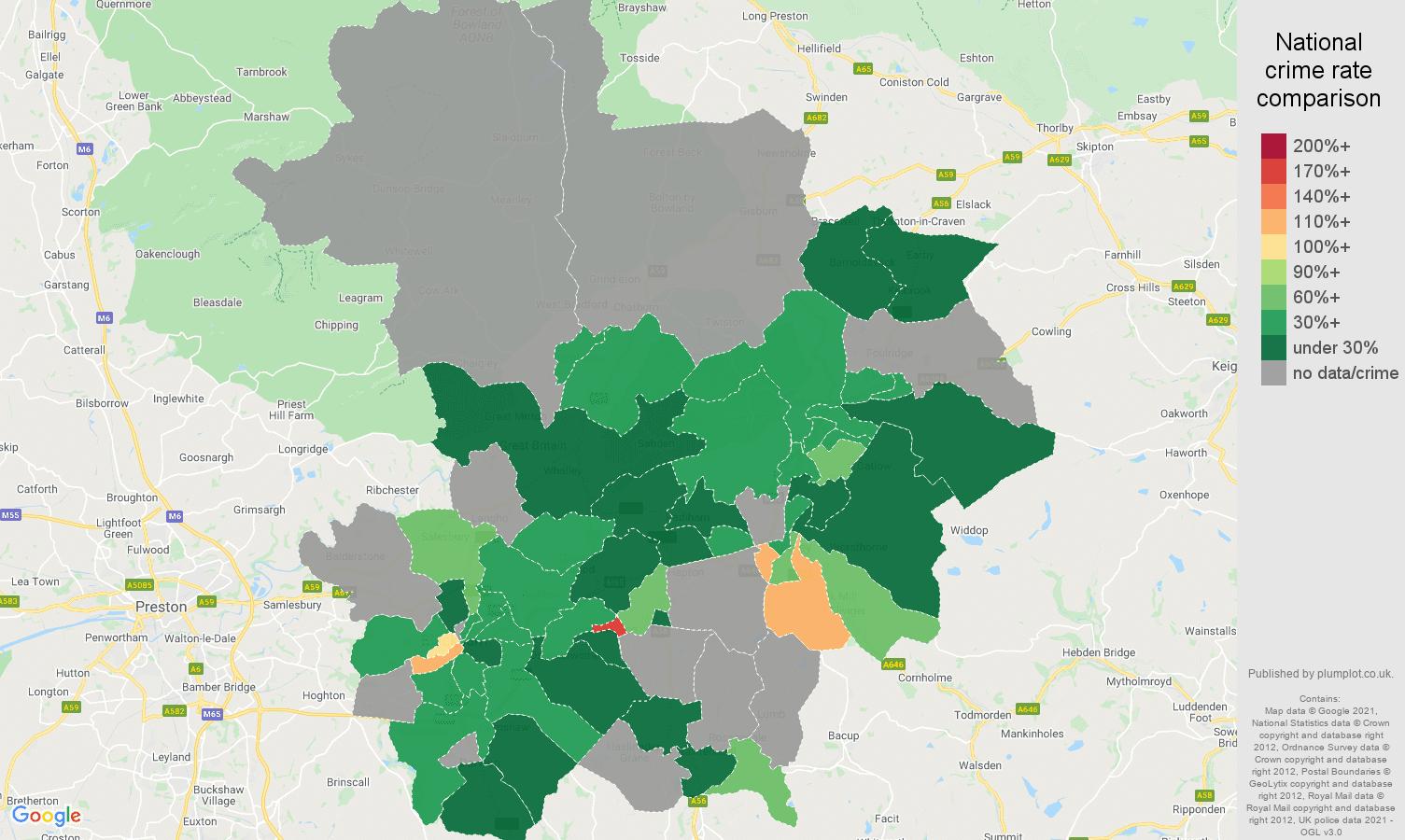 Blackburn theft from the person crime rate comparison map