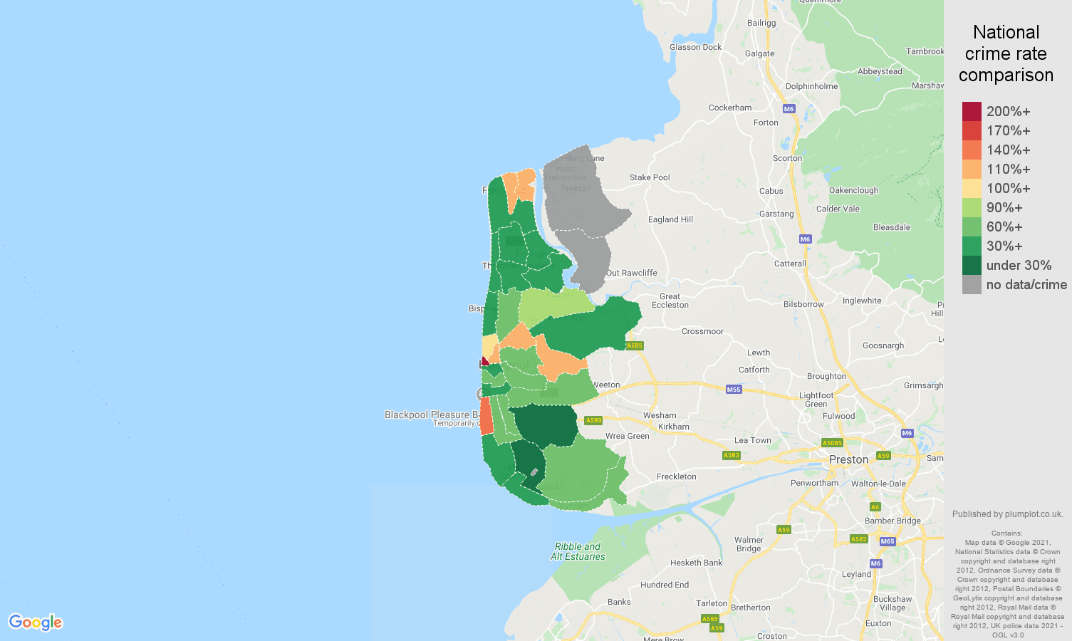 Blackpool bicycle theft crime rate comparison map