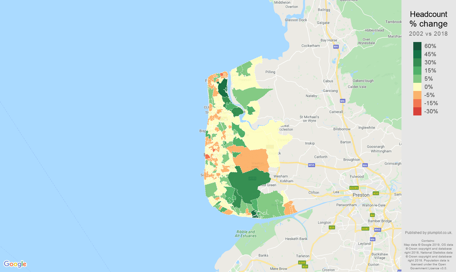 Blackpool headcount change map