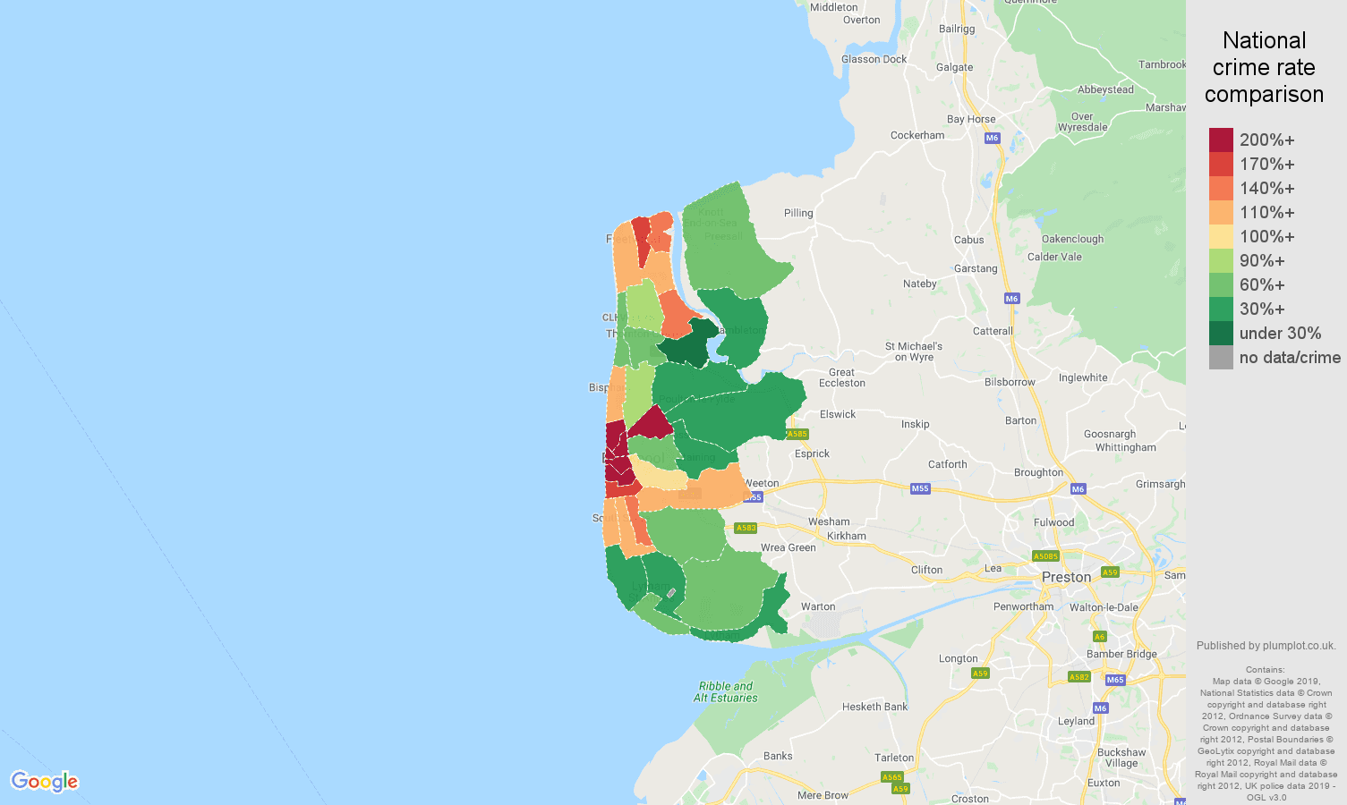 Blackpool other crime rate comparison map