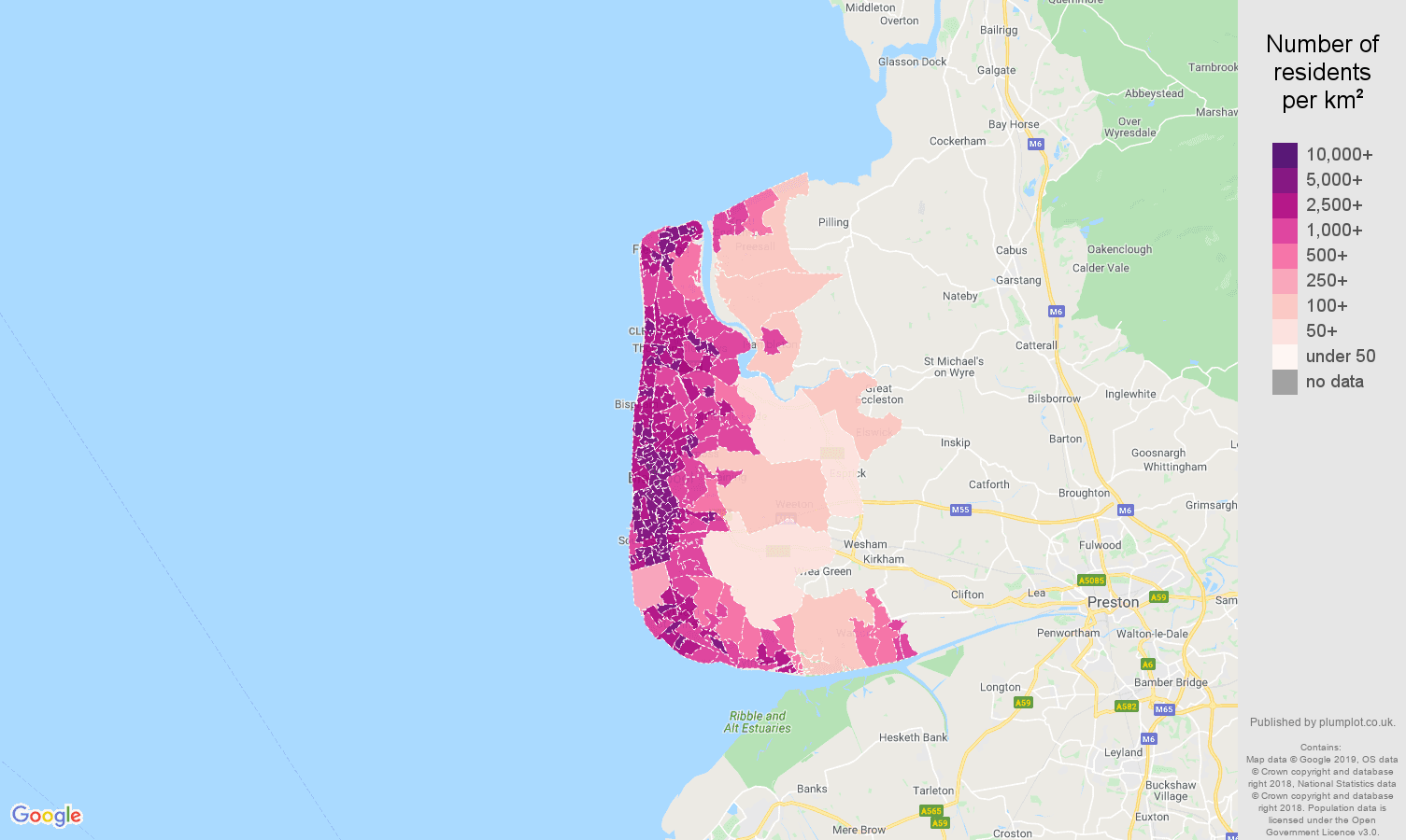 Blackpool population density map