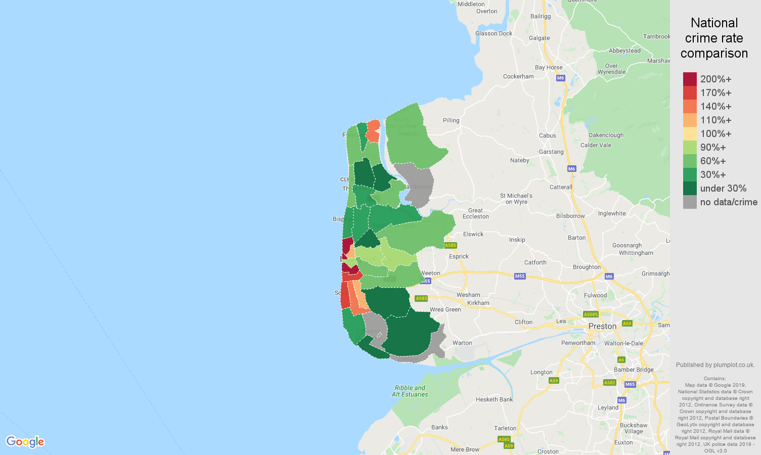 Blackpool possession of weapons crime rate comparison map