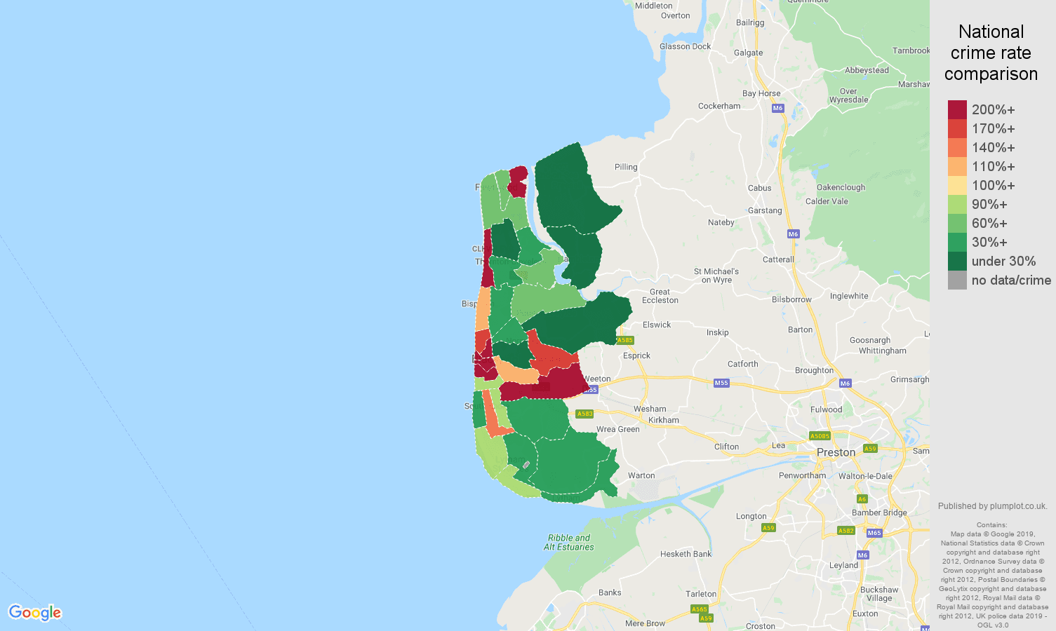 Blackpool shoplifting crime rate comparison map