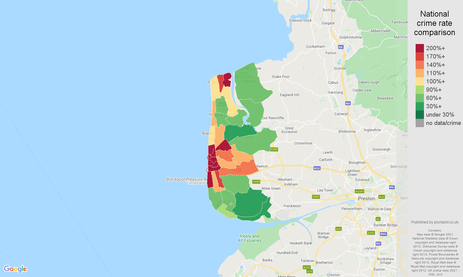 Blackpool violent crime rate comparison map