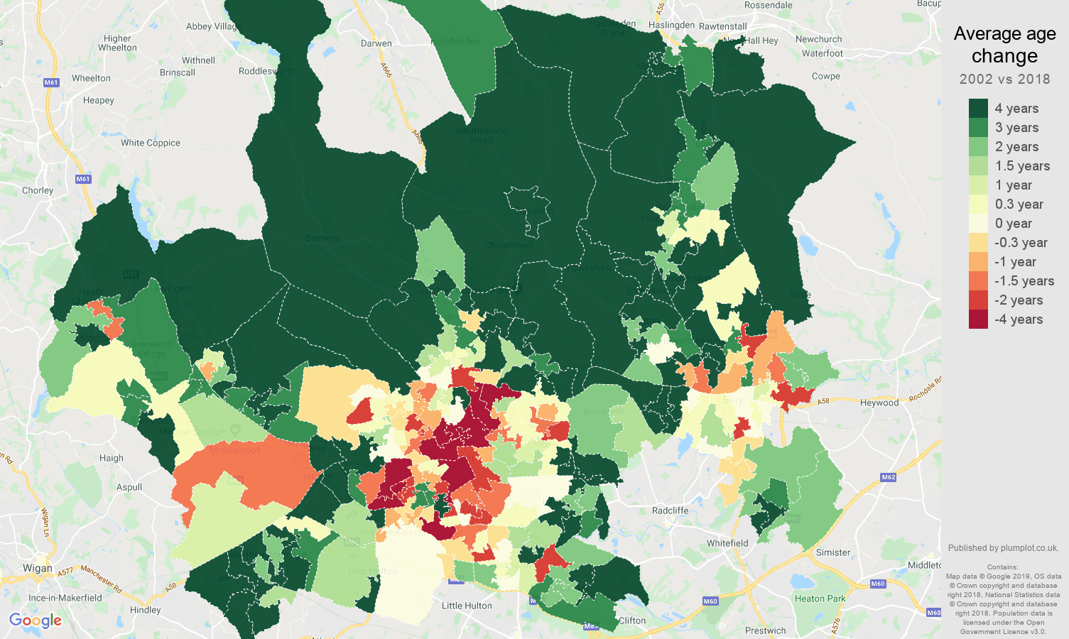 Bolton average age change map