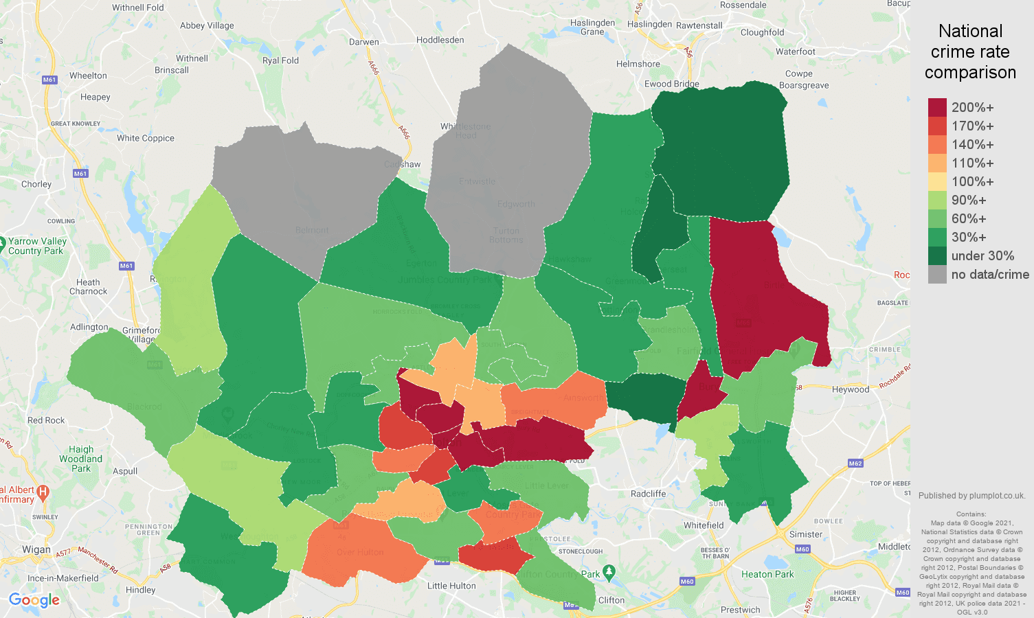 Bolton robbery crime rate comparison map