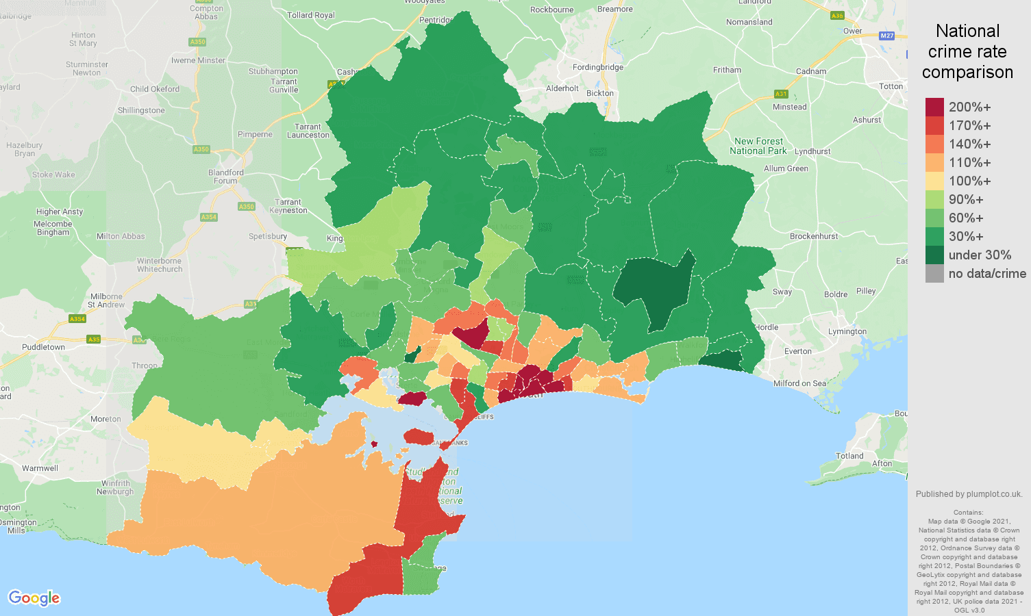 Bournemouth antisocial behaviour crime rate comparison map