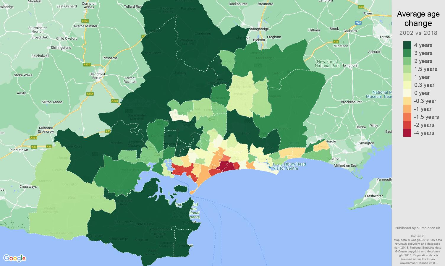 Bournemouth average age change map