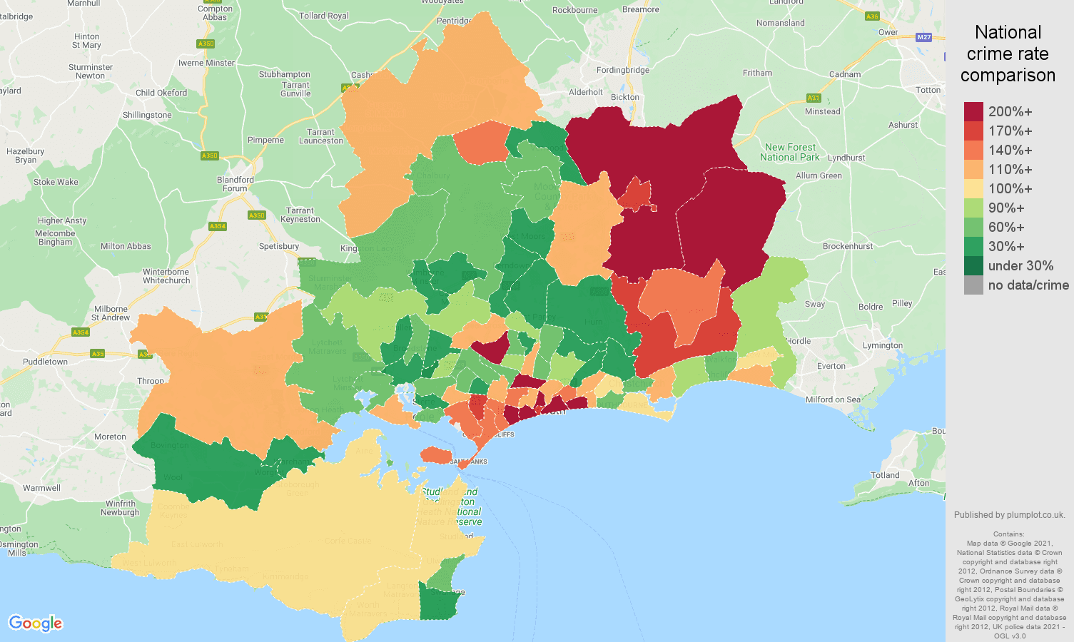 Bournemouth burglary crime rate comparison map