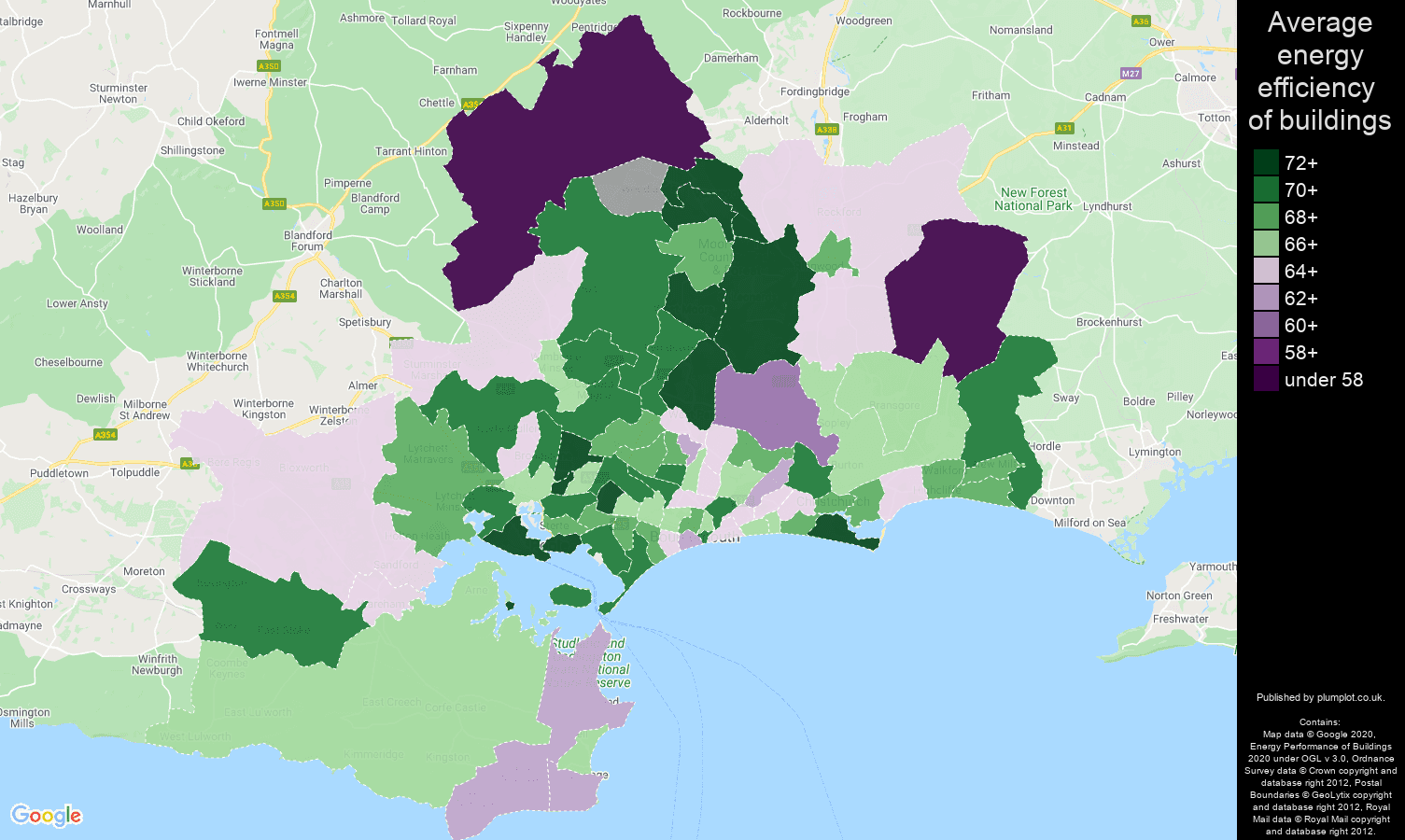 Bournemouth map of energy efficiency of flats