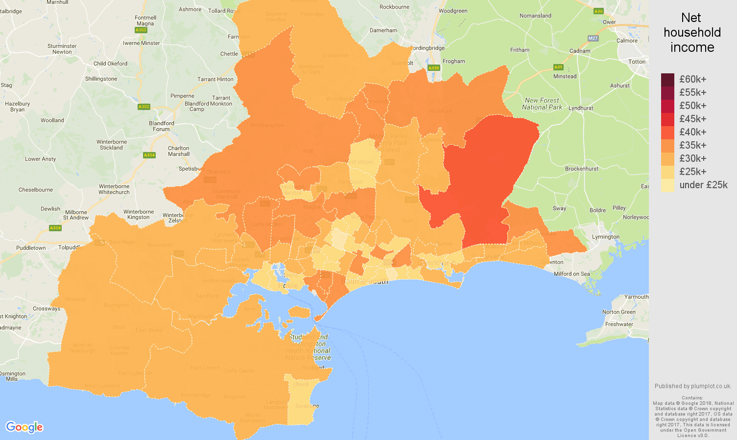Bournemouth net household income map