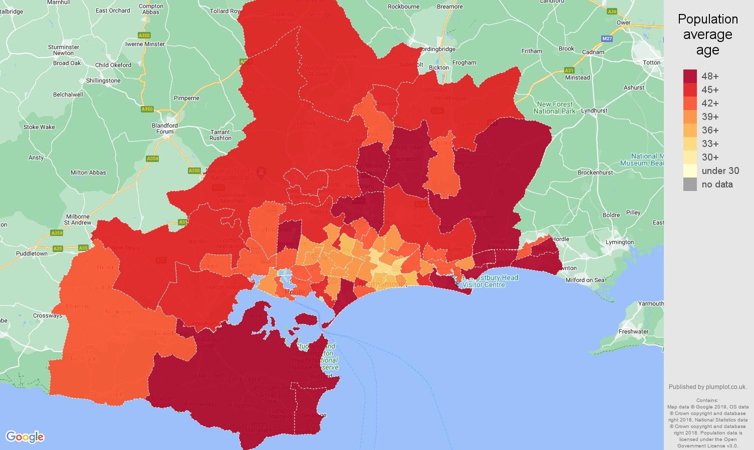 Bournemouth population average age map