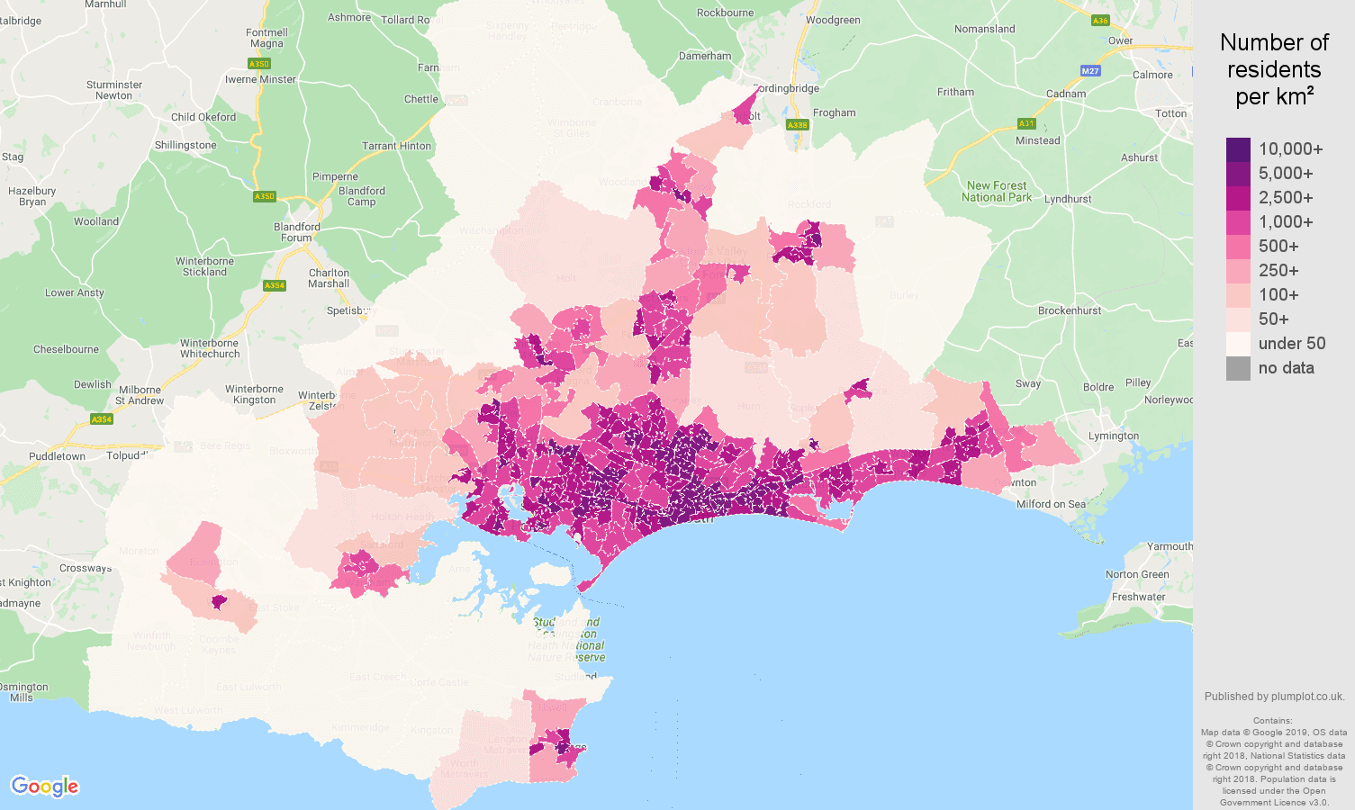 Bournemouth population density map