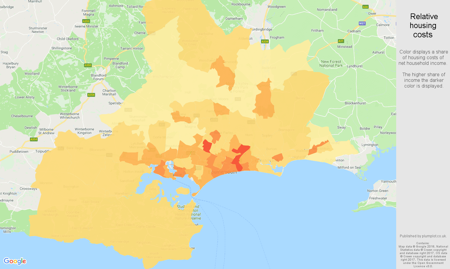 Bournemouth relative housing costs map