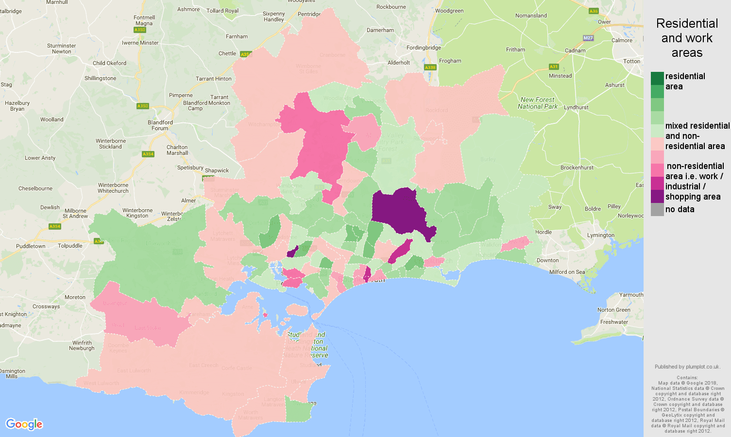 Bournemouth residential areas map