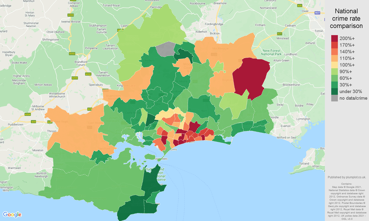 Bournemouth vehicle crime rate comparison map
