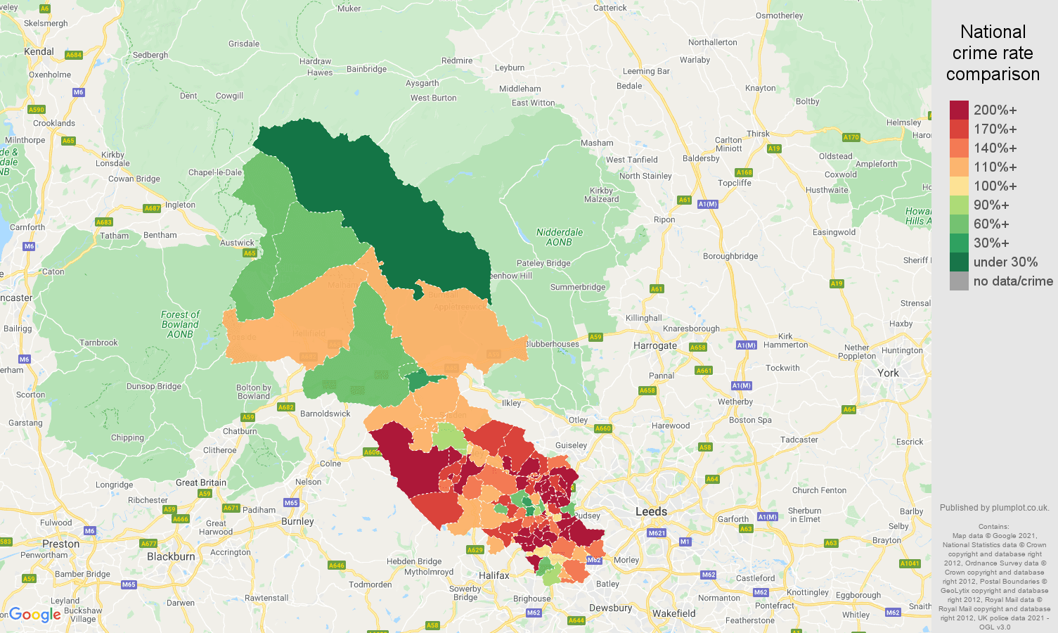 Bradford burglary crime rate comparison map