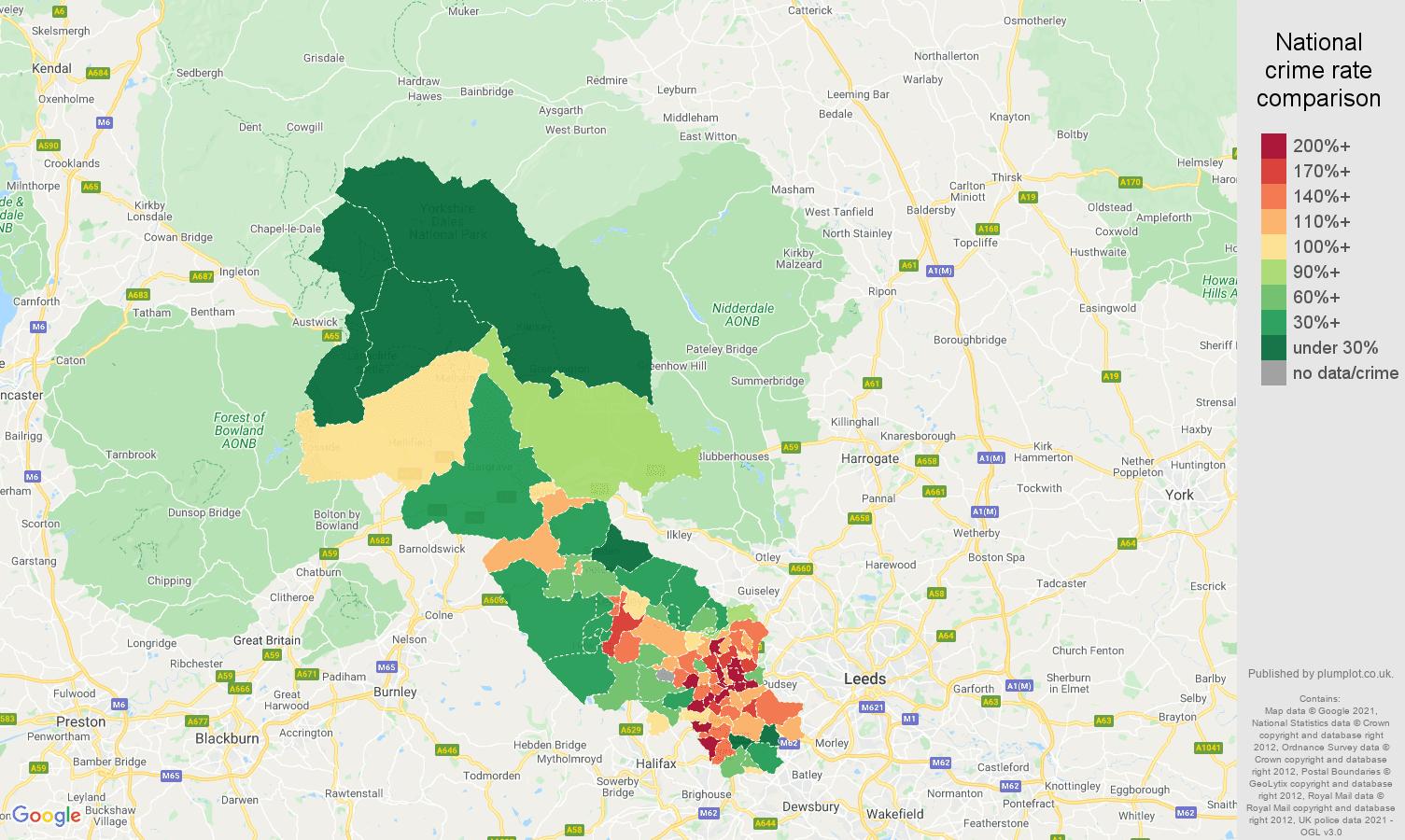 Bradford drugs crime rate comparison map