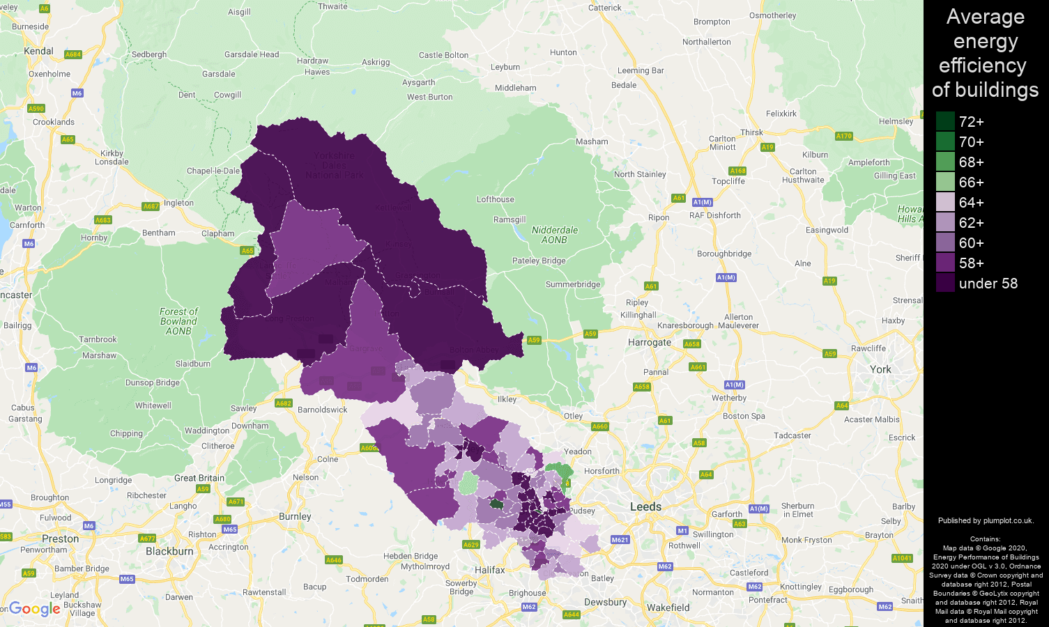 Bradford map of energy efficiency of houses