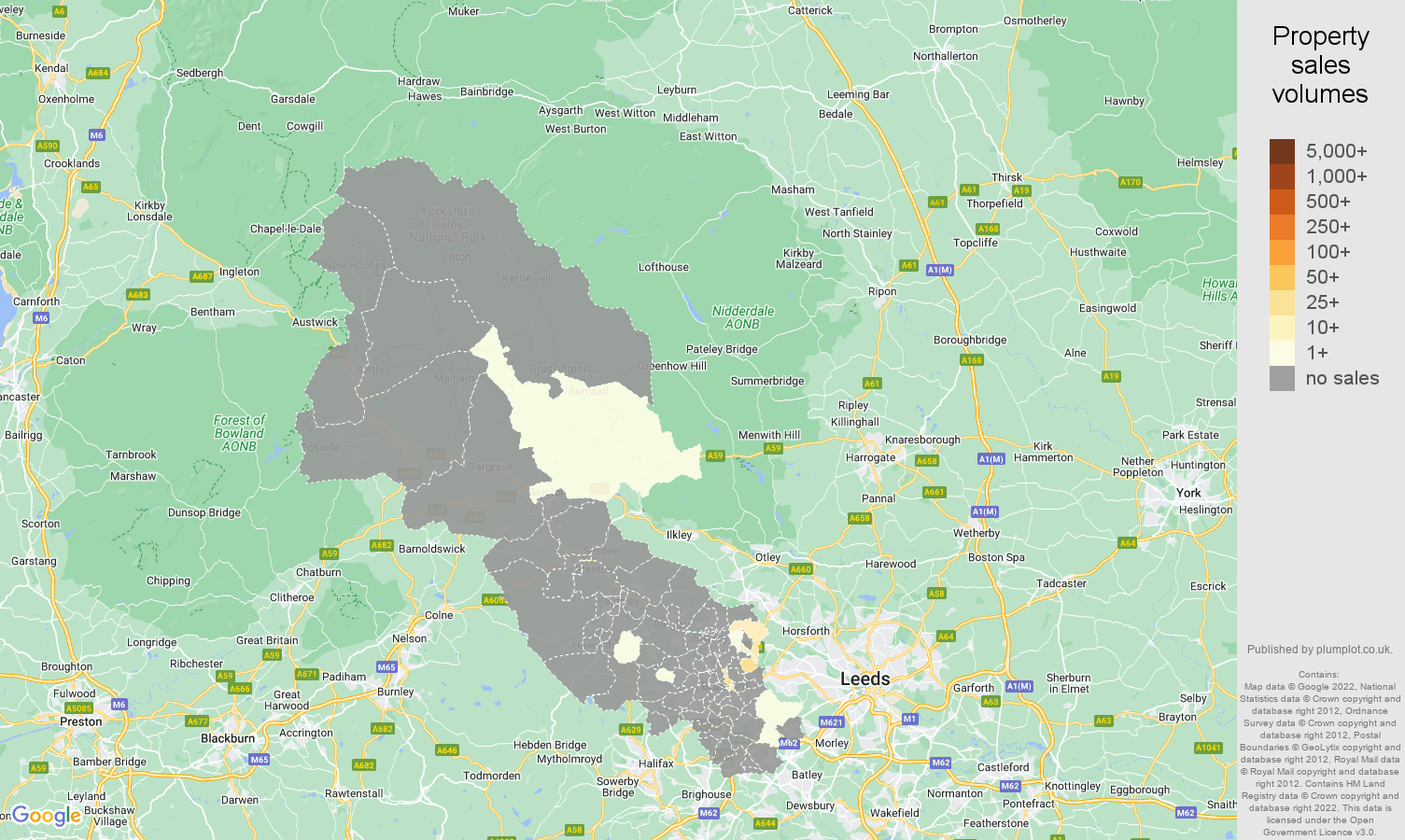 Bradford map of sales of new properties