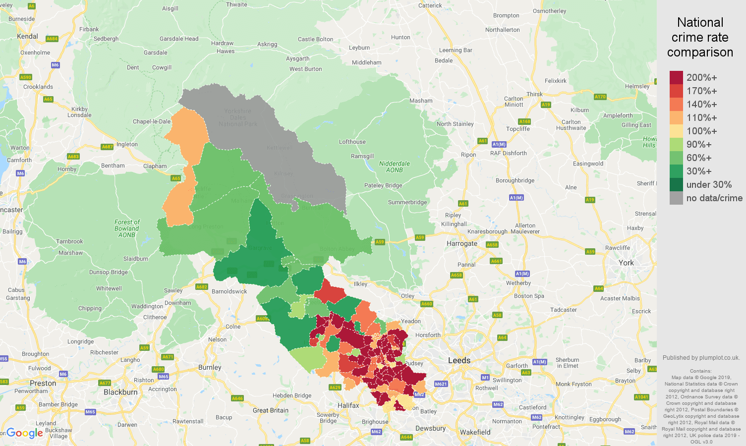 Bradford other crime rate comparison map